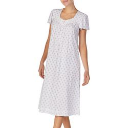 Aria Womens Medallion Print Short Sleeve Ballet Nightgown