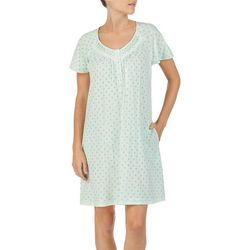 Aria Womens Palmette Print Short Sleeve Short Nightgown