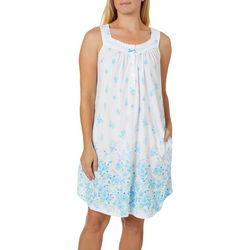 Aria Womens Floral Border Print Short Sleeveless Nightgown