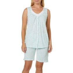 Aria Womens Floral Print Bermuda Pajama Shorts Set