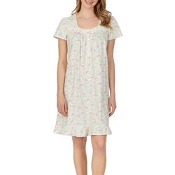 Aria Womens Flamingo Print Lace Trim Short Nightgown