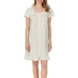 Womens Flamingo Print Lace Trim Short Nightgown