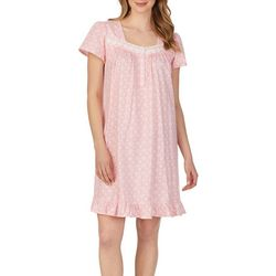 Aria Womens Medallion Print Lace Trim Short Nightgown