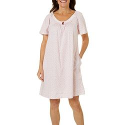 Aria Womens Ditsy Floral Print Short Sleeve Nightgown