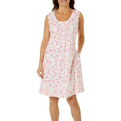 Aria Womens Floral Print Lace Trim Sleeveless Nightgown