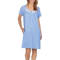 Aria Womens Vine Print Lace Trim Short Nightgown