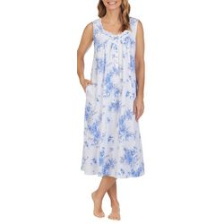 Aria Womens Watercolor Floral Sleeveless Ballet Nightgown