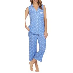 Aria Womens Diamond Dot Print Cropped Pajama Pants