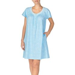 Aria Womens Lace Print Short Nightgown