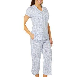 Aria Womens Ditsy Floral Button Down Pajama Capris Set