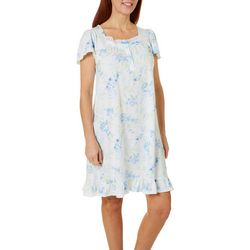 Aria Womens Floral Print Lace Trim Short Nightgown