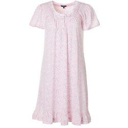 Aria Womens Ditsy  Floral Lace Trim Short Sleeve Nightgown