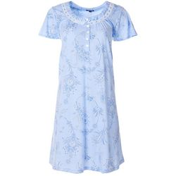 Womens Floral Lace Trim Short Sleeve Nightgown