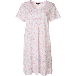 Aria Womens Tile Print Henley Short Nightgown