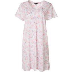 Aria Womens Tile Print Henley Short Nightgown
