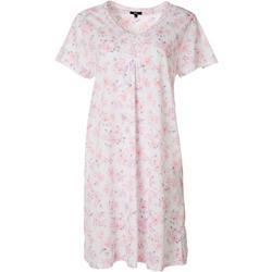 Womens Tile Print Henley Short Nightgown