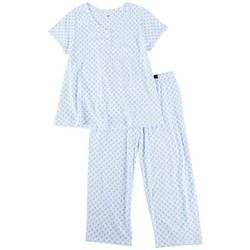 Aria Womens Mandala Print Henley Pajama Capris Set