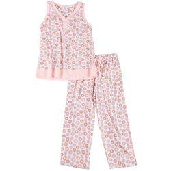 Aria Womens Floral Stripe Pajama Capris Set