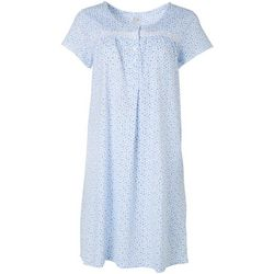 Aria Womens Floral  Henley Short Nightgown