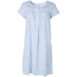 Womens Floral  Henley Short Nightgown