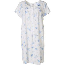Aria Womens Floral Lace Trim Henley Short Nightgown