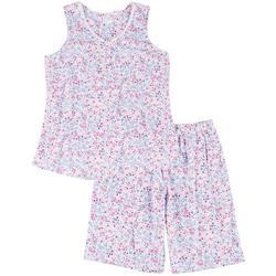Womens Ditsy Floral Print Bermuda Pajama Shorts Set