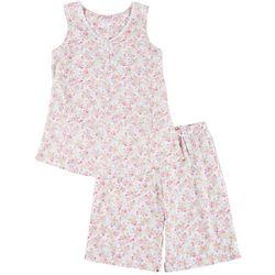 Aria Womens Ditsy Floral  Bermuda Pajama Shorts Set