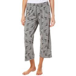 Womens Kitty Print Capri Pajama Bottoms