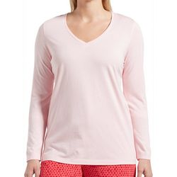 Hue Womens Solid Long Sleeve V-Neck Pajama Top