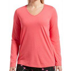 Hue Womens Solid V-Neckline Long Sleeve Pajama Top