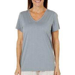 Hue Womens Essential Solid V-Neck Short Sleeve Pajama Top