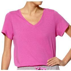 Womens Short Sleeve V-Neck Solid Pajama Top