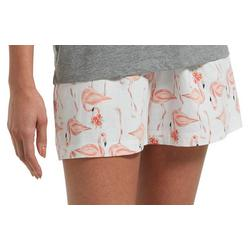 Womens Flamingo  Pajama Boxer Shorts