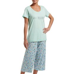 Womens Plant Positivity Pajama Capri Set