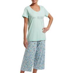 Womens Plant Positivity Pajama Capri Set