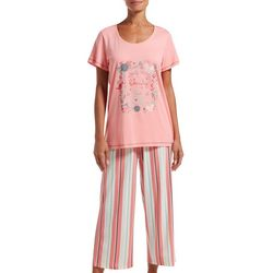 Hue Womens Walk In Beauty And Love Pajama Capri Set