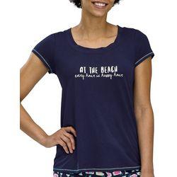 Hue Womens Every Hour Is Happy Hour Scoop Neck Pajama Top
