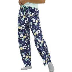Hue Womens Navy Floral Print Long Pajama Pants