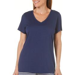 Womens Solid V-Neck Pajama Top
