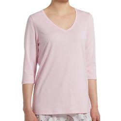 Hue Womens Solid Classic V-Neck 3/4 Pajama Top