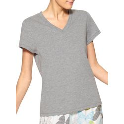 Hue Womens Heathered V-Neck Short Sleeve Pajama Top