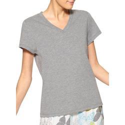 Womens Heathered V-Neck Short Sleeve Pajama Top