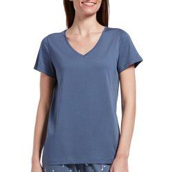 Hue Womens Solid Classic V-Neck Pajama Top