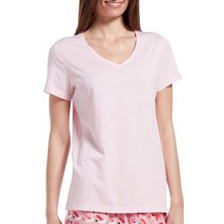 Hue Womens Solid Short Sleeve V-Neck Pajama T-Shirt