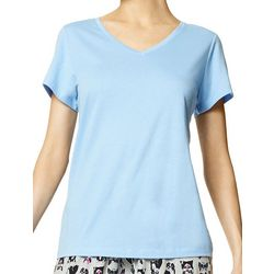 Womens Essential Short Sleeve V-Neck Pajama Top