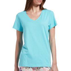 99d92b0ea2dd Hue Womens Solid Short Sleeve V-Neck Knit Pajama Top