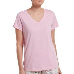 Womens Essential Solid  Short Sleeve V-Neck Pajama Top