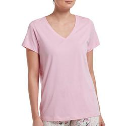 Womens Essential Solid  Short Sleeve V-Neck Pajama Top