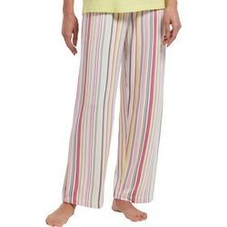 Womens Keep Moving Striped Print Long Pajama Pants