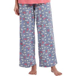 Womens Purring Print Long Pajama Pants